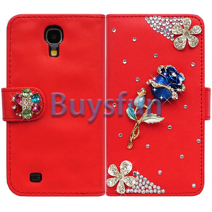 Bling Blue Rose Flower Wallet Leather Cover Case for Samsung Galaxy S4 103014198(China (Mainland))