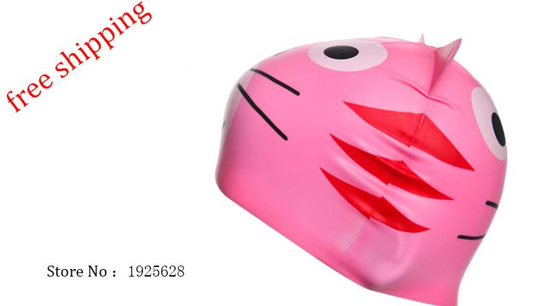 free shipping ! hot sale , Children swimming cap , silicone waterproof protective ear cap , children's cartoon swimming cap(China (Mainland))