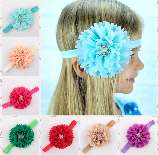 2 Pieces Baby Girl Hair Accessories Head Band Big Flower Headbands Children Pearl Rhinestone Hair Acessorios(China (Mainland))