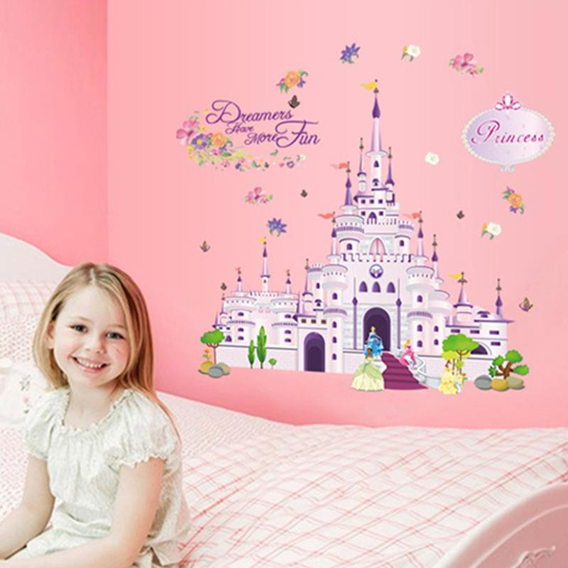 Wallpaper Lovely Prince Princess Castle Dream Wall Stickers Kids Room Decoration Removable Vinyl Wall Sticker Christmas Decor(China (Mainland))