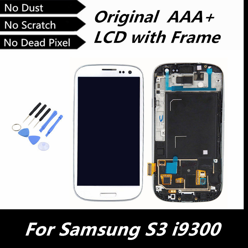 100% Tested Good LCD Screen Digitizer with Frame for Samsung Galaxy S3 III i9300 White/Dark Blue/Black Color(China (Mainland))