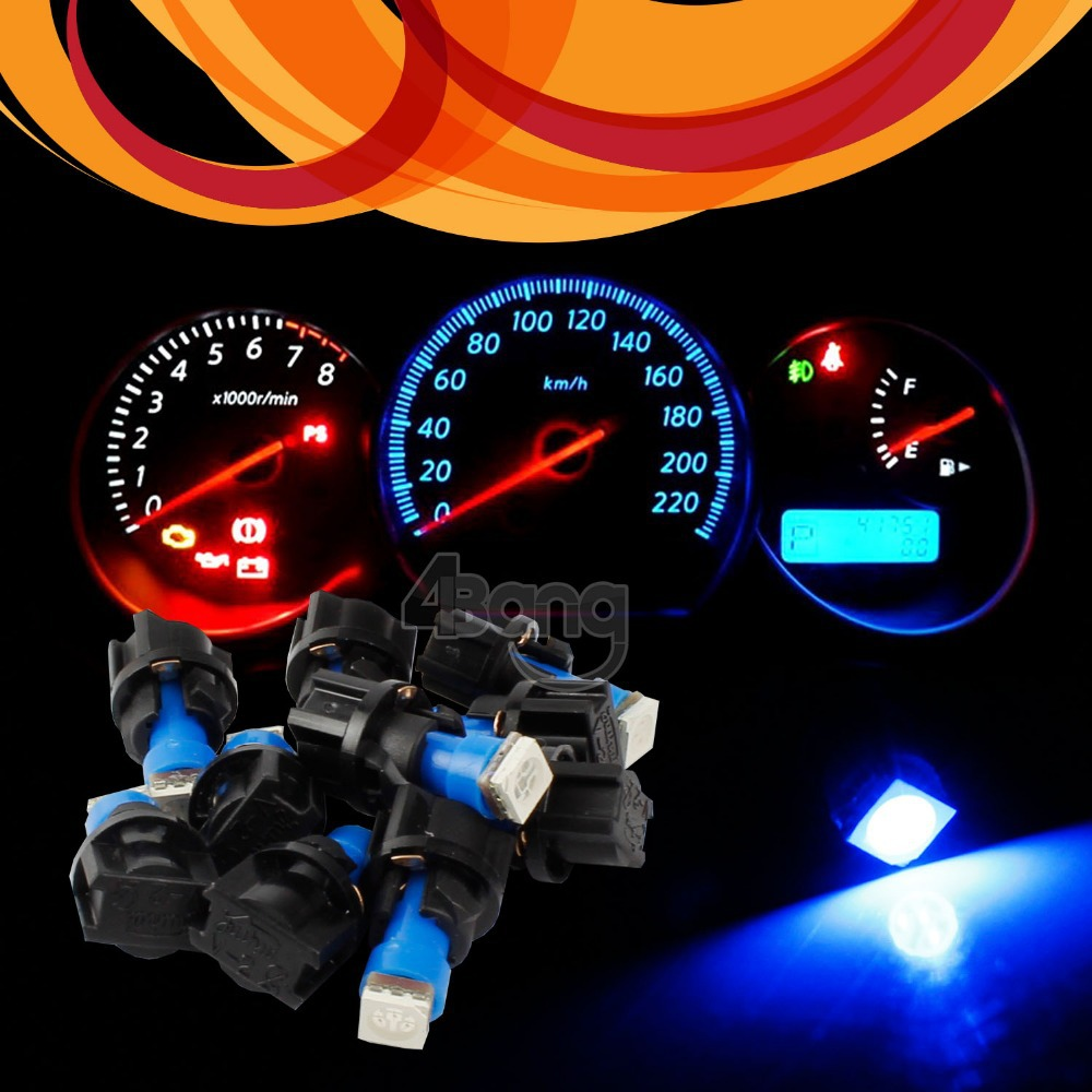 10pcs/Lot 12V Bright Blue Auto LED T5 SMD 5050 LED With Socket Dashboard Panel Dash Indicator light source Interior Bulb(China (Mainland))
