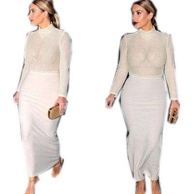 2015 Women Dresses Long Sleeve White perfumes and fragrances of brand originals Female Dresses Elegant Maxi Party Dress Vestidos(China (Mainland))