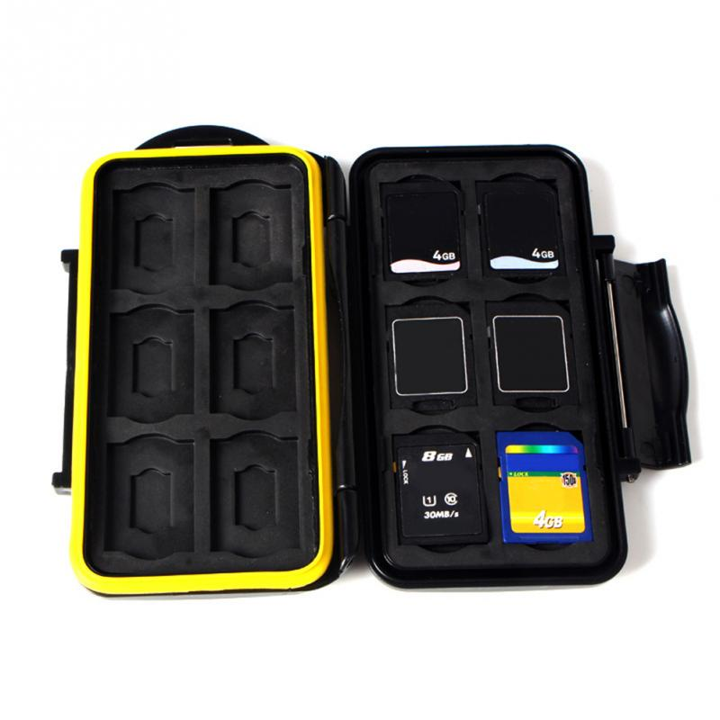 Black Memory Card Case Waterproof Supper Tough SD Card Holder Box for 12pcs SD/TF Card Case
