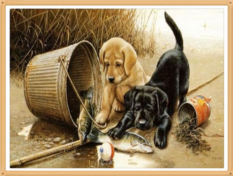 The two dogs Catch fish to eat30x40cmDiy diamond painting square drill rhinestone pasted cross stitch masonry rhinestone crafts(China (Mainland))