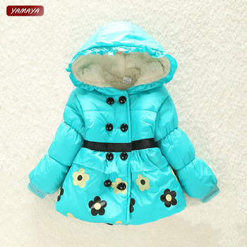NEW 2015 kids jackets baby snowsuit girls winter snowsuit winter outwear with a hood cotton-padded flower coats baby clothing