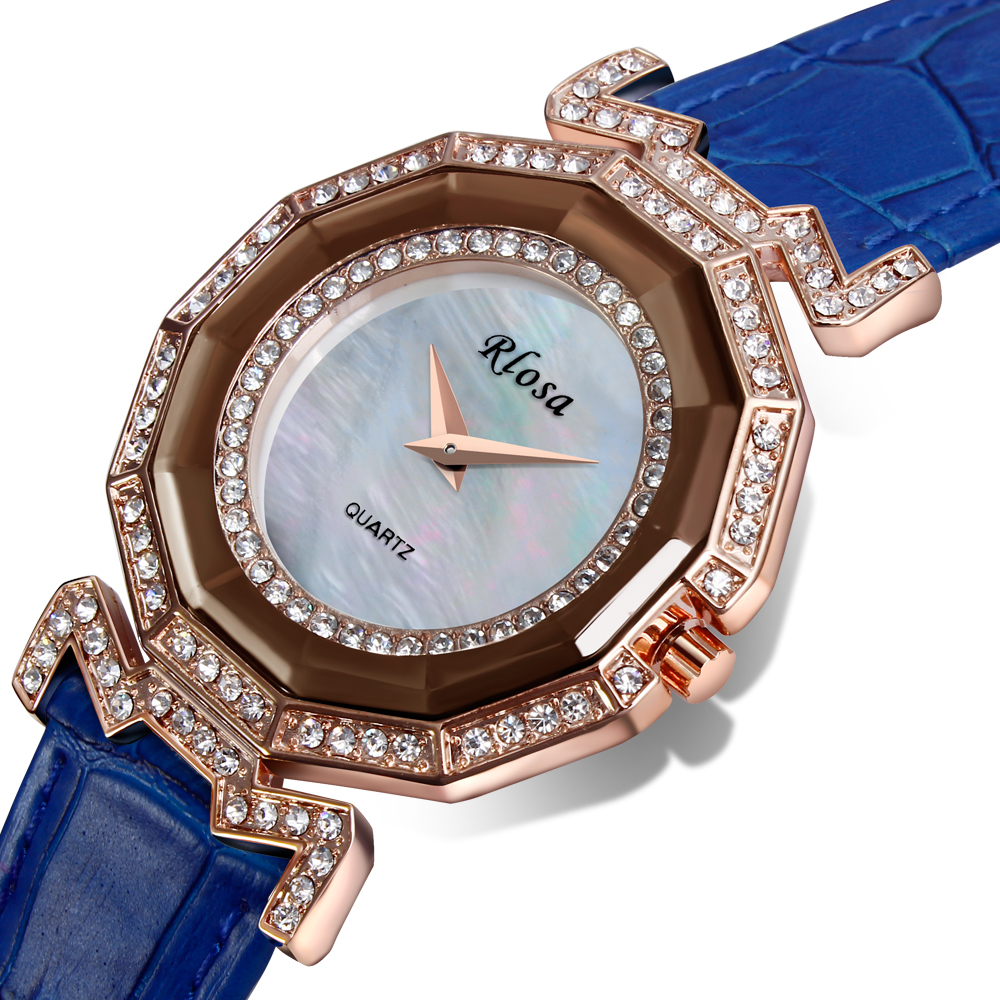 DC1989 New Rhinestone Watch Made with Genuine Leather Strap Rose Gold Plated Case with Crystals Japan Movement MOP Dial(China (Mainland))