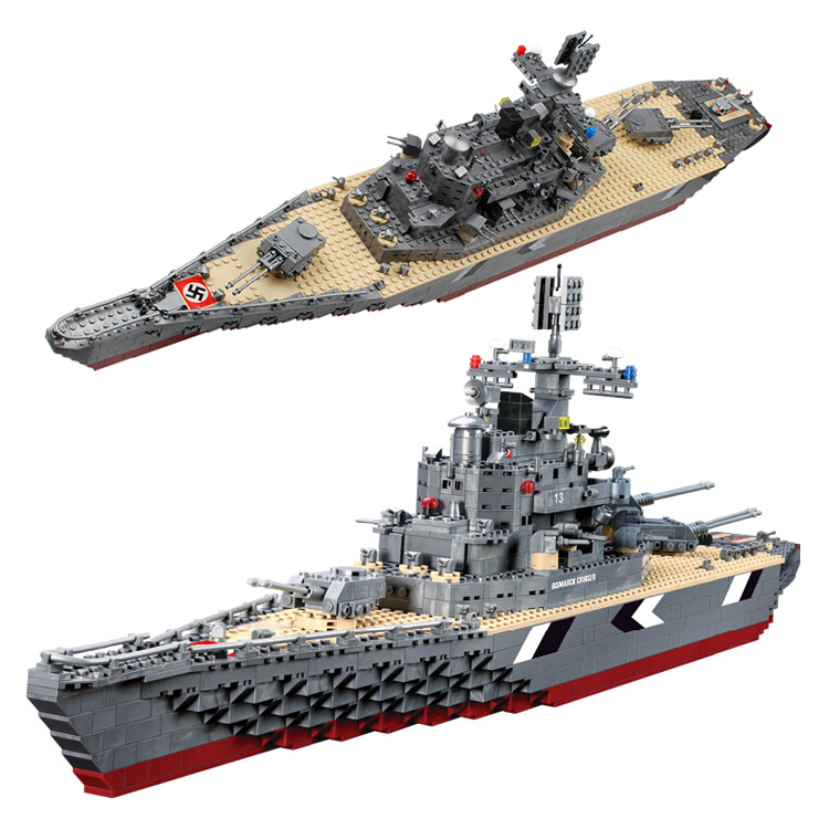 Фотография Model building kits compatible with lego Bismarck battleship 3D blocks Educational model building toys hobbies for children