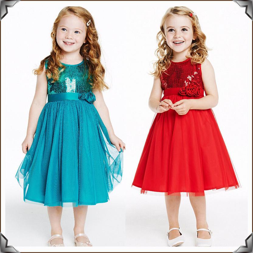 2015 exclusive new cartoon red roses sequins princess dress girl dress up elsa Anna princess dress up(China (Mainland))