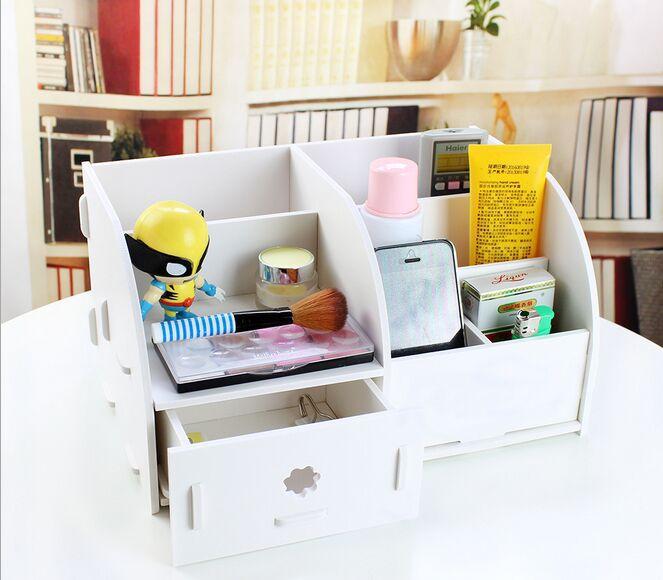 Home DIY Wooden Creative DIY waterproof cosmetic storage box remote control multi-layer storage box drawer desktop office gift(China (Mainland))
