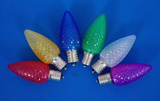 100pcs/lot C7 LED light bulb,E12 base, 3pcs led inside;CE and UL approved;R/Y/B/G/W/WW/O color optional