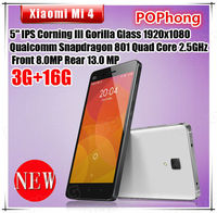 Xiaomi Mi4 M4 64B Mobile Phone 5''1920*1080 Quad Core Qual-comm Snapdragon 2.5GHz 3GB RAM Camera 8MP+13MP