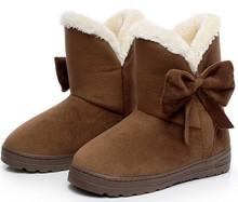 2016 Nueva Llegada de La Venta Caliente Mujeres Botas Bowtie Solid Slip-On Soft Mujeres lindas Botas de Nieve Punta Redonda Plana con Zapatos de Invierno XWX1385(China (Mainland))
