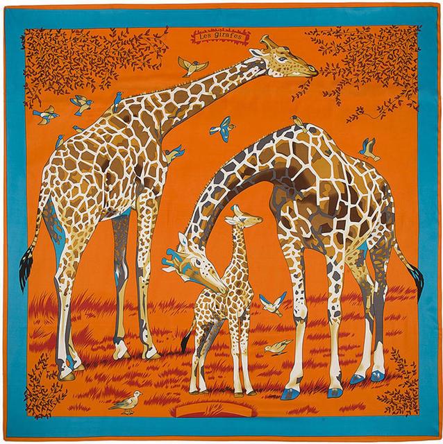 130 см * 130 см 100% шелк евро фирменный стиль мода париж животных жираф принт шелковая косынка Femal мода Les Girafes платки