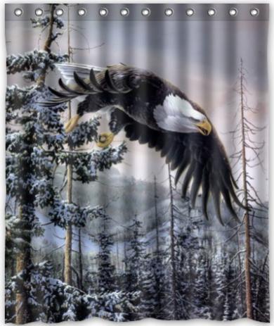 "Hot Sale Custom winter bald eagle Classic Home Setting Bathroom Decoration Shower Curtain With High Quality Print 60"" x 72""(China (Mainland))"