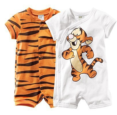 free drop shipping baby short sleeve cartoon tiger romper infant rompers boy's girl's Wear Stripes baby Romper baby clothes(China (Mainland))