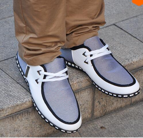 Mens New Fashion Canvas Shoes Flats Breathable Lace-up PU Leather - YongJia Trading Company store