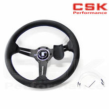 Racing Style 350mm Alloy Auto Steering Wheel UNIVERSAL deep bottom(China (Mainland))