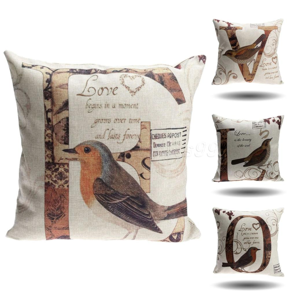 45x45cm Bed Home Decor Love Letter Bird Printed Cotton Embroidery Cushion Cover Sofa Car Bedding Decorative