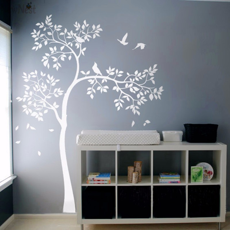 Huge white tree wall decal vinyl sticker birds tree baby for Design wall mural