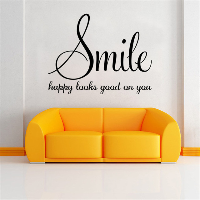 smile happy looks good on you inspirational quotes diy art wall sticker home decor 2016 christmas