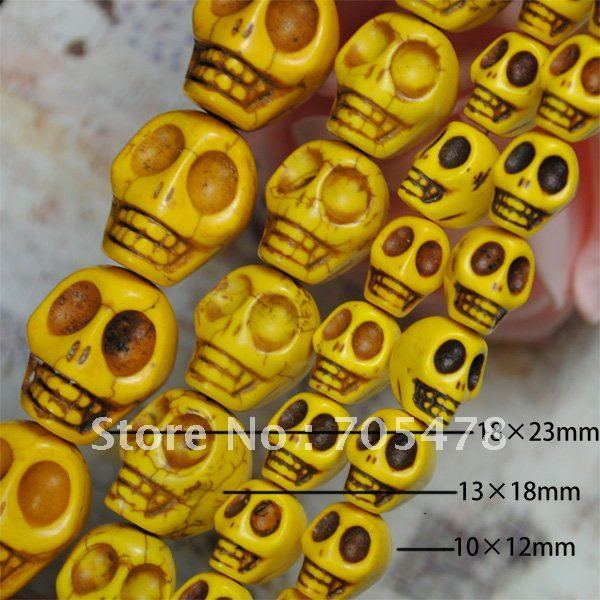 """2012 wholesale 13*18mmYellow Turquoise Gemstone Skull Loose Beads 16""""L (22Pcs/strand)Fit Jewelry DIY Free Shipping"""