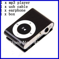 150pcs/lot Card Reader mp3 player support TF Card  with  metal Clip portable Card Reader +earphone+crystal box+usb cable