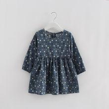 2019 אביב שמלת ילדה כותנה ארוך שרוול ילדי שמלות מנוקדת ילדים שמלות בנות אופנה בנות בגדים(China)