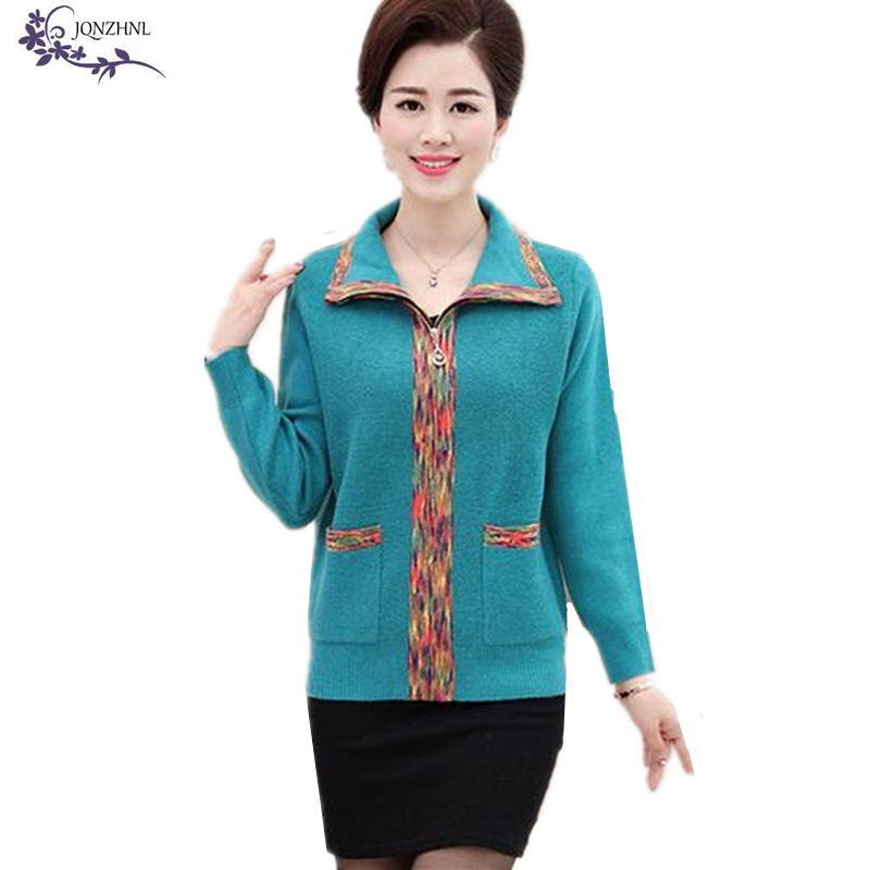 JQNZHNL 2017 Middle-aged Women Spring Sweater Short Paragraph Loose Plus size Mother Loaded Clothes Knitted Cardigan Coats AA384(China (Mainland))