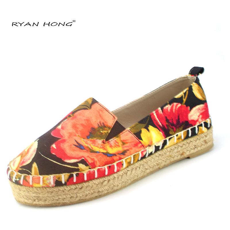 Plataforma de las mujeres PISOS alpargatas Lienzo zapatos planos alpargatas de yute suede shoes casual floral