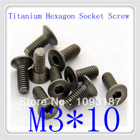 50pcs/lot  DIN7991 M3*10 Titanium Flat  Head Hexagon Socket Cap Screw<br><br>Aliexpress
