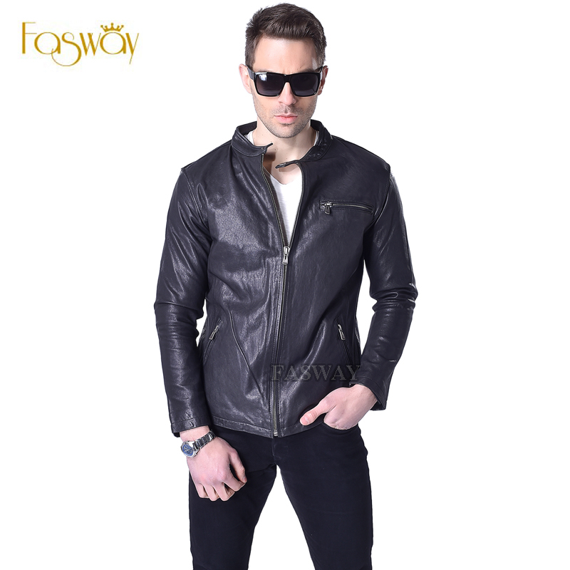 Factory Vegetable Tanned Goat Leather Jacket Men Genuine Leather Jacket Brand Casual Black Soft Mens Leather Coat Autumn ZH050(China (Mainland))