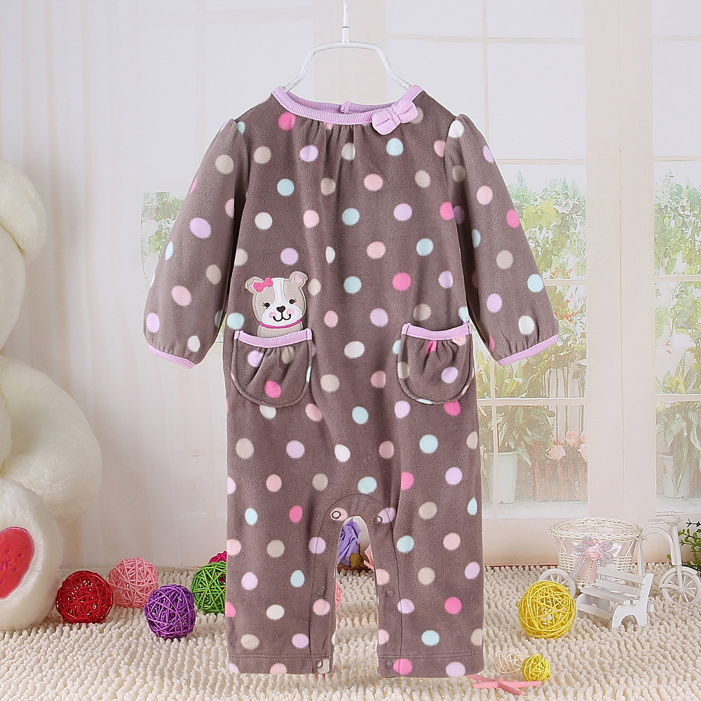 Retail Carters fleece baby rompers girls jumpsuit infant pajamas newborn kids clothing size in 6M 12M 18M Free Shipping(China (Mainland))
