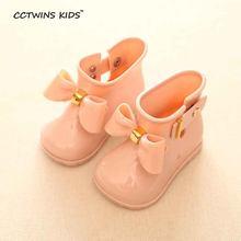 CCTWINS ÇOCUKLAR 2018 bahar yaz çocuk pvc ayakkabı bebek kız yay yağmur botu çocuk wellington çizme çocuk marka su geçirmez çizme c1095(China)
