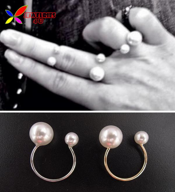 2014 Fashion Gold Silver Adjustable Copper Metal Double faux Pearl designer Women s cuff finger rings