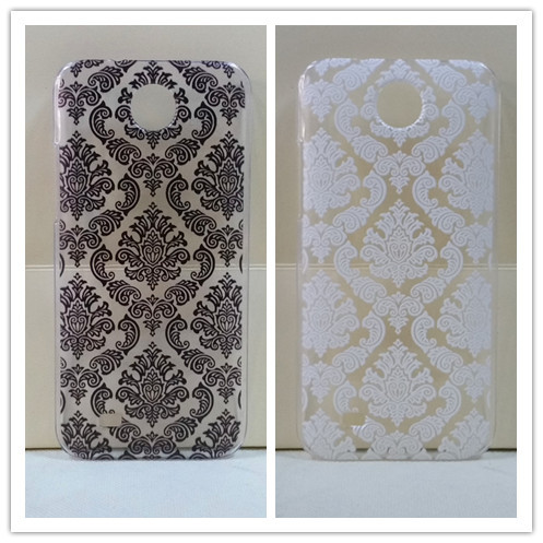 Vintage Black &White Paisley Flower Hard Floral PlasticSkin Cover Case For HTC Desire 300 drop shipping(China (Mainland))