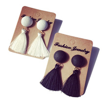 Cute Design Round Black/White Tassel Drop Earrings Faux Suede Fabric Long Dangle Earrings for Girl Fine Jewelry Wholesale EW2321(China (Mainland))