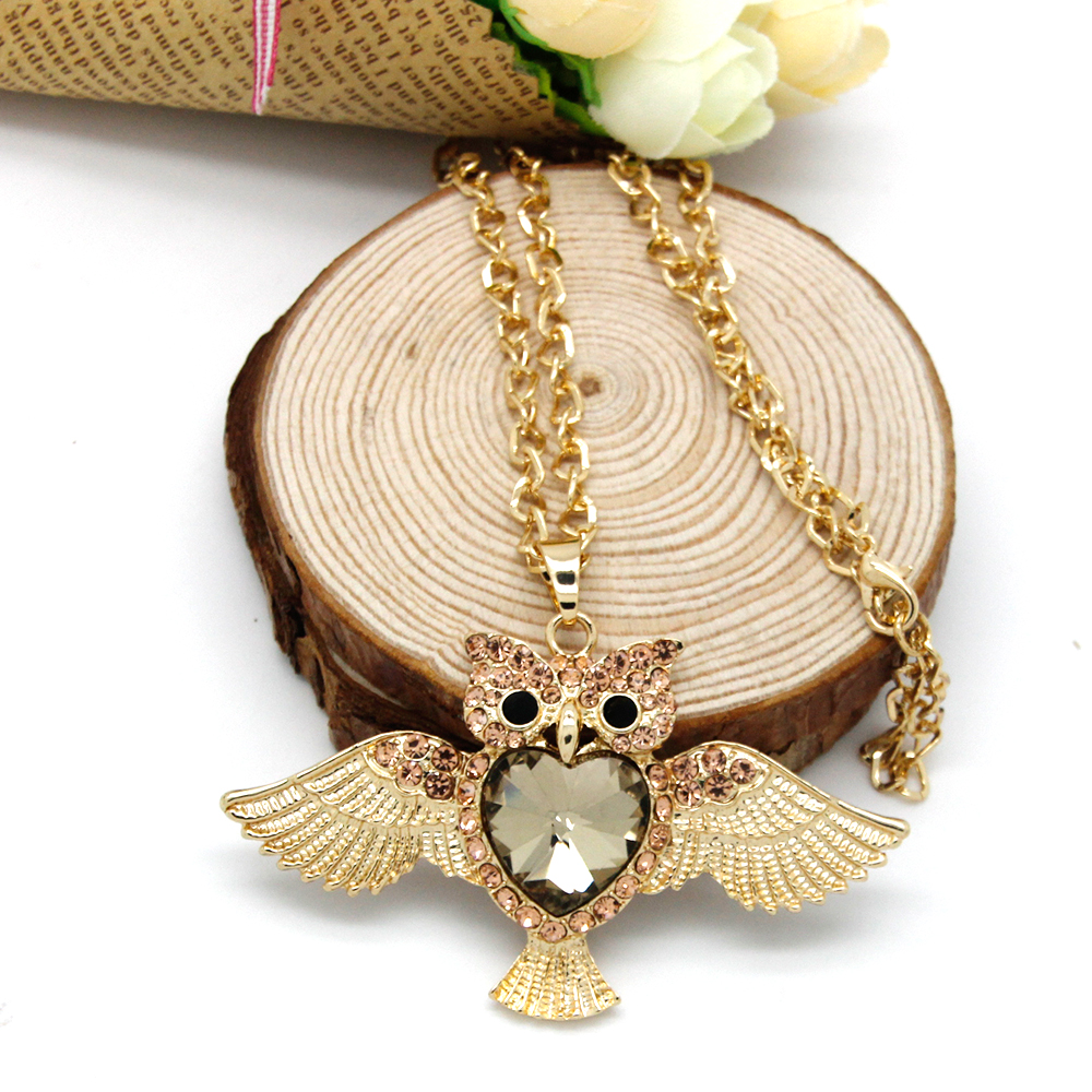Hot Sale Austrian Crystal Owl Pendant Necklace Sweater Chain for Women18K Gold Plated Summer Collection Animal Jewelry FNG0013-F(China (Mainland))