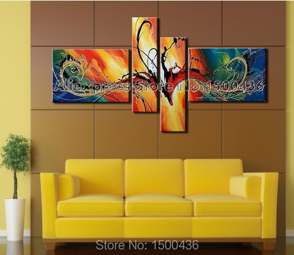 4 Piece Giolla Wall Decor Set : Handpainted piece modern decorative oil painting on
