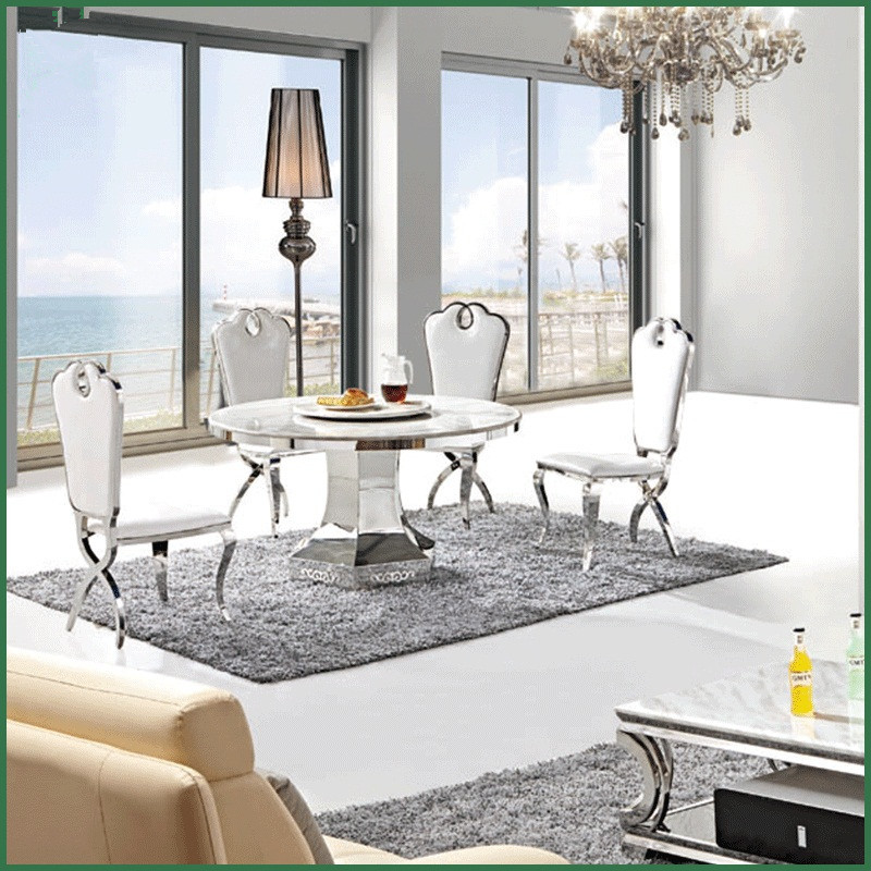 Stylish white marble top round dining table with stainless steel frame bottom round table furniture(China (Mainland))