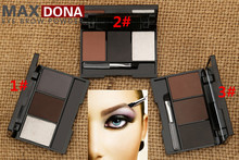 Professional 3 colour EYEBROW Powder/Shadow Palette With Brush Make Up Eyebrow