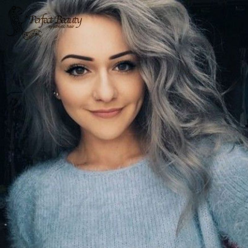 Granny Grey Wig Synthetic Lace Front Wavy Wig Heat Resistant Dark Roots Granny Grey Big Wavy for Fashion Women<br><br>Aliexpress