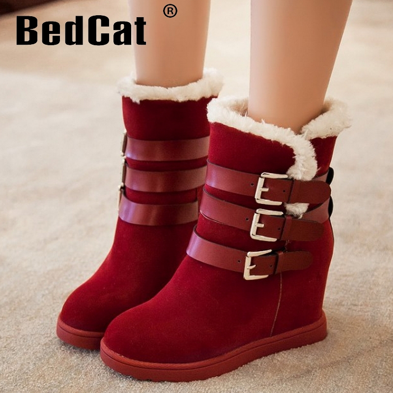 women wedge ankle boots water proof half short snow winter boot cotton fashion footwear warm botas heels shoes P19279 size 34-39