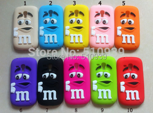 3D Soft Silicon Rubber M&M Fragrance Chocolate Rainbow Beans Case For Samsung Galaxy S3 mini / S4 mini /i8190/i9190 Phone cases(China (Mainland))