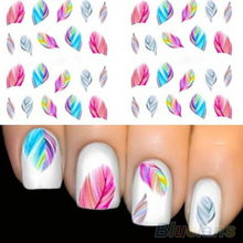 5pcs Fashion Feather Nail Art Water Transfer Sticker Rainbow Dreams Decal