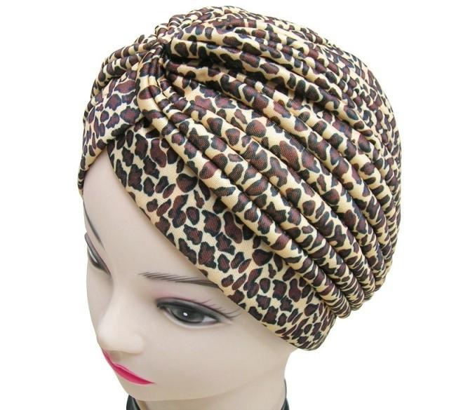 Free Shipping 2015 New Fashion Women Indian Stretchable Brown Grey Leopard Animal Printed Turban Hat Headband Wrap(China (Mainland))