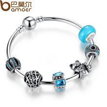 925 Silver Charm Bangle with Bear Animal & Open Your Heart Charm Bracelet Blue Glass Ball Friendship Bracelet PA3069(China (Mainland))