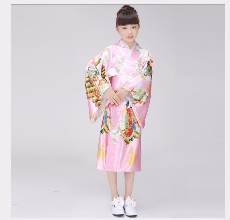 New Fashion Japanese Girl Kimono Dress With Obi Traditional Yukata Child Stage Performance Dance Dress Kid Cosplay Costume(China (Mainland))