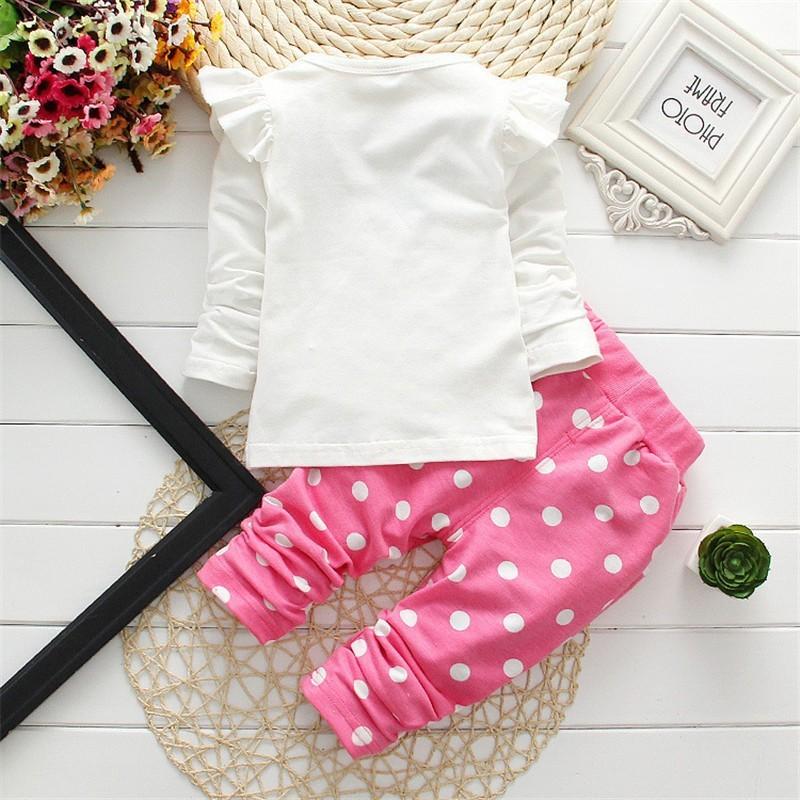 2016 New Spring Autumn Children Girls Clothing Sets Minnie Mouse Clothes Bow Tops  Shirt  Leggings Pants Baby Kids 2 Pcs Suit