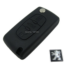 Replacement  Remote Key Case Shell peugeot 407 car key cover 3 button flip key case With car Symbol 3 Buttons Free shipping